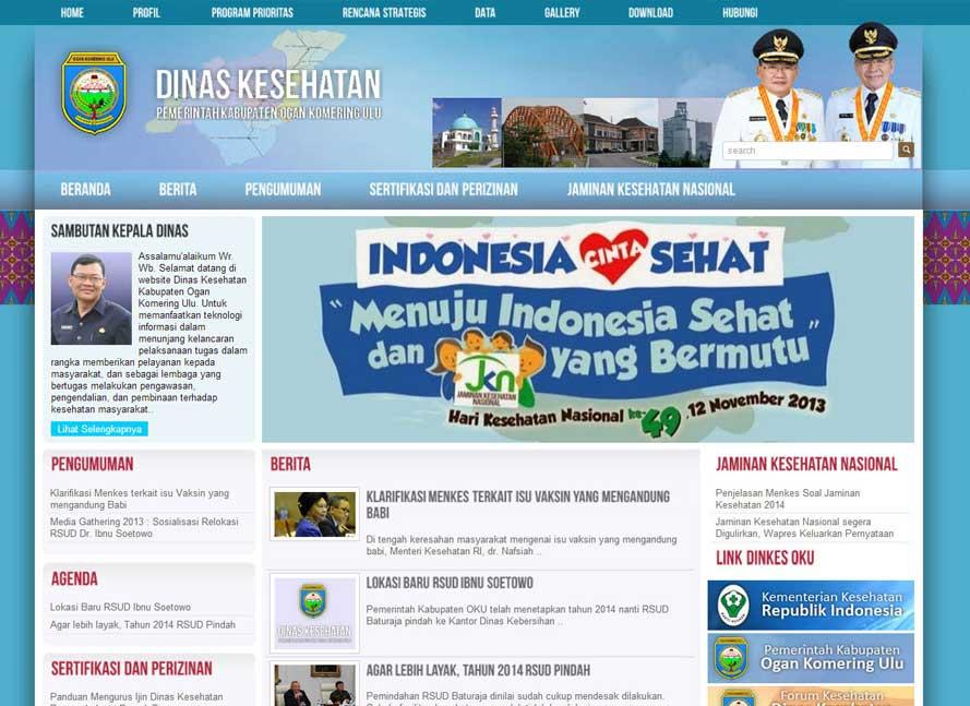 Website Dinas Kesehatan Kabupaten OKU